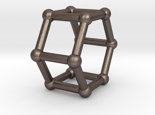 0422 Hexagonal Prism (a=1cm) #002 in Polished Bronzed Silver Steel