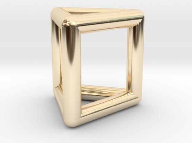 0445 Triangular Prism (a=1сm) #001 in 14K Yellow Gold