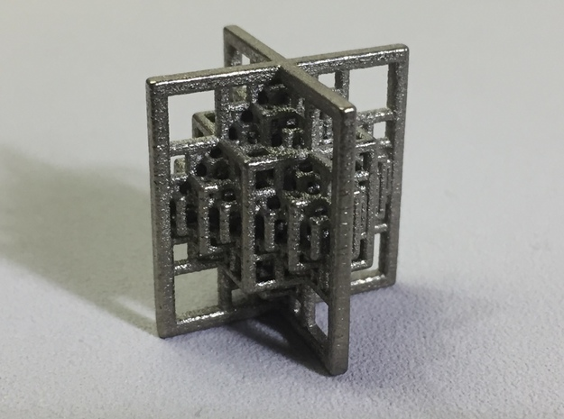 Beamed CuboOctahedron Mini 3d printed Polished Nickel Steel