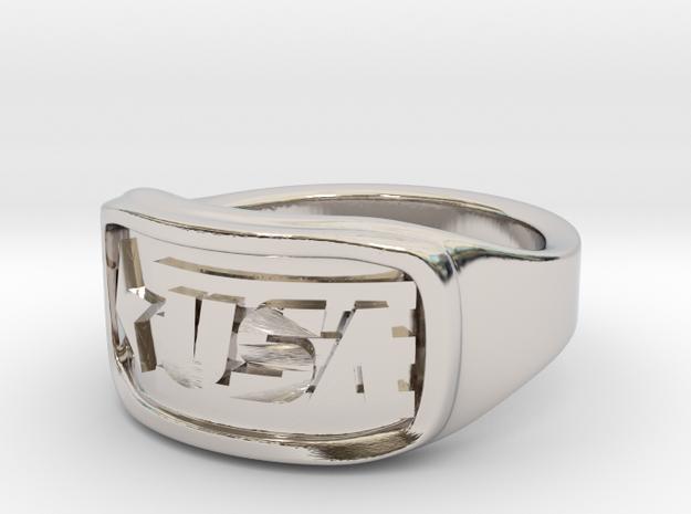 Ring USA 49mm in Rhodium Plated Brass