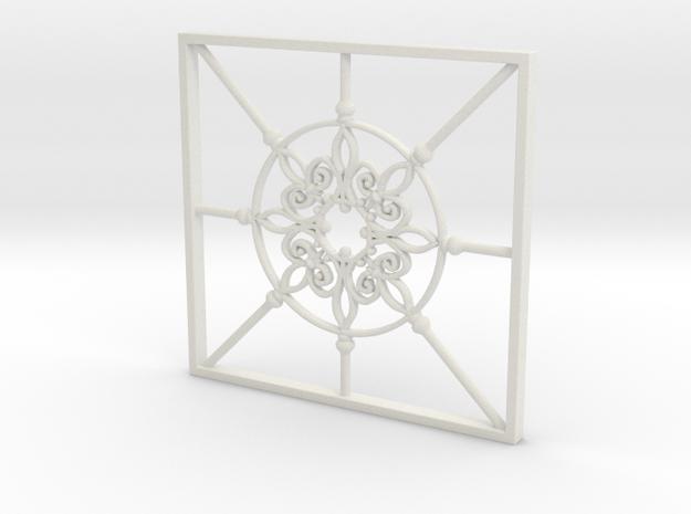 Wrought Iron railing 1:20 scale in White Natural Versatile Plastic