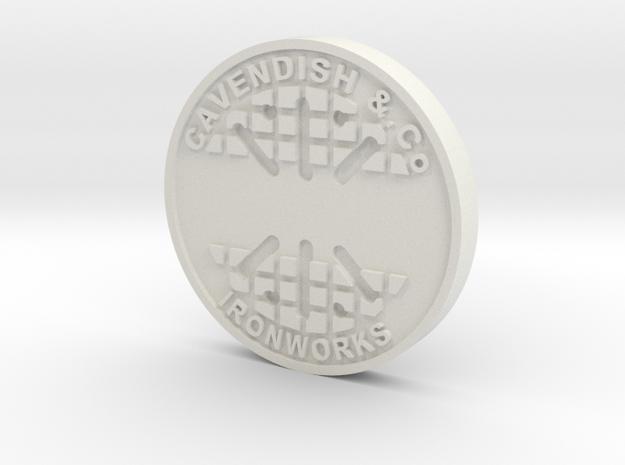28mm/32mm Custom 'Cavendish' Manhole Cover  in White Natural Versatile Plastic
