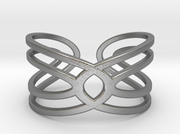 Geometri-K Waves Size 8 (Medium large) in Natural Silver