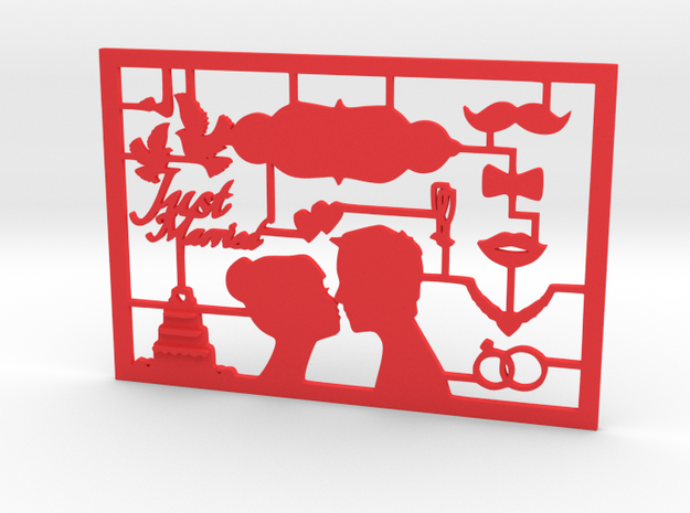 CARTA just married greeting card in Red Processed Versatile Plastic