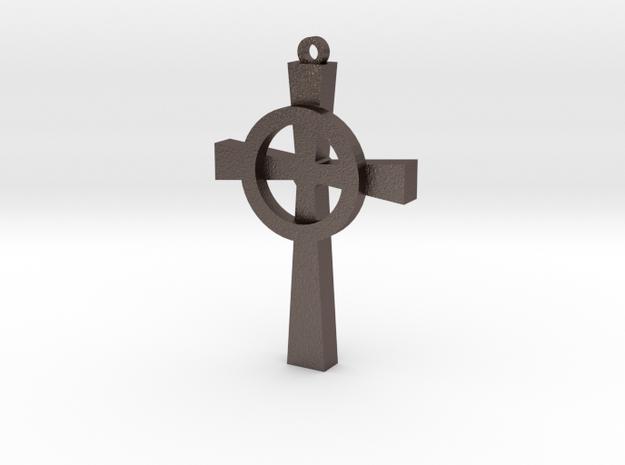 Celtic Cross 4 in Polished Bronzed Silver Steel