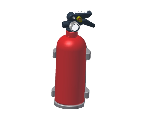 Fire Extinguisher Assembly in White Processed Versatile Plastic