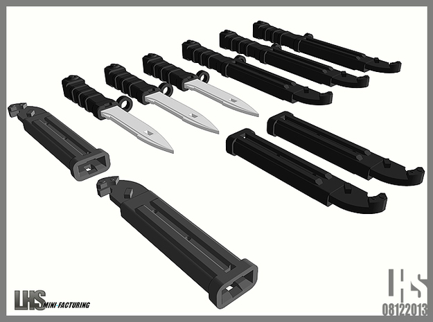1/6 scale Russian Ak Black Bayonet set in White Natural Versatile Plastic