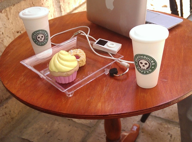 BJD Doll Coffee Cup and Lid 3d printed Cups on 1/3 (SD scaled) doll table