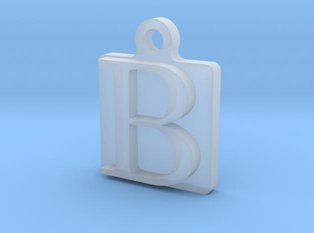 Letter B Pendant in Smoothest Fine Detail Plastic