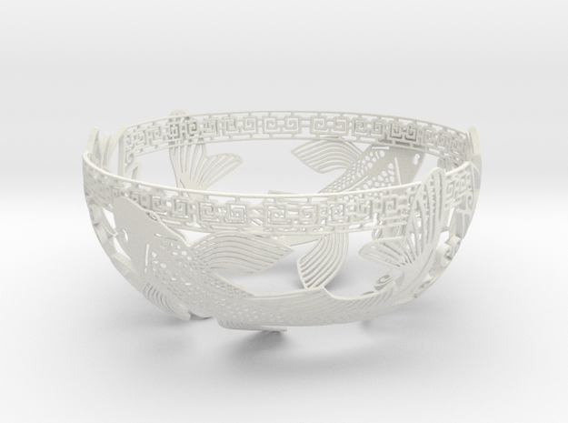 Decorative Koi Bowl in White Natural Versatile Plastic