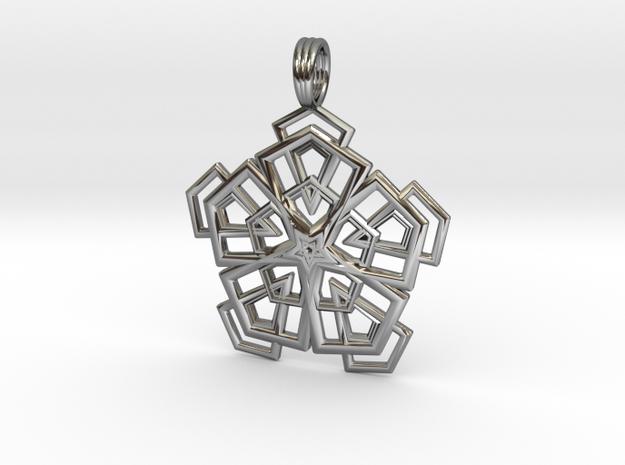 PENTAGONAL DELTOHEDRON 2D in Premium Silver