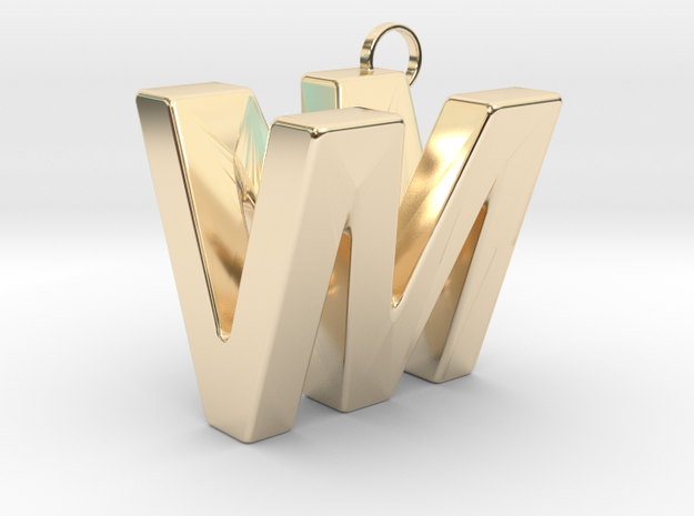 V&M 3D Ambigram in 14K Yellow Gold