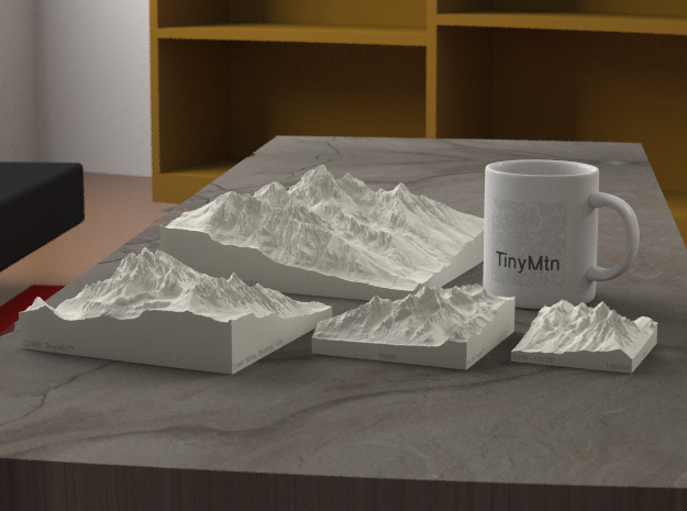 "3'' Grand Tetons, Wyoming, USA, Sandstone 3d printed Rendering of all available sizes: 3"", 4"", 6"", 8"""