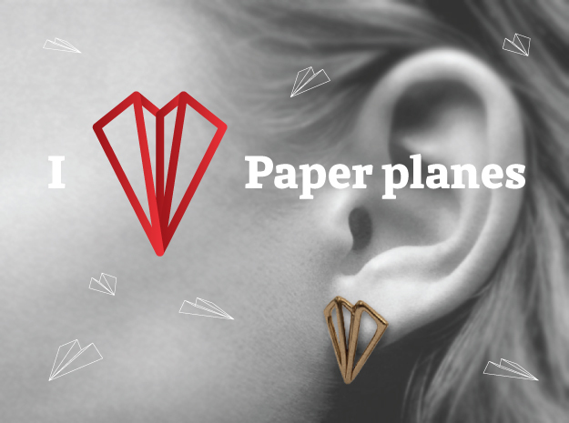 Paper Plane -earrings in Raw Brass
