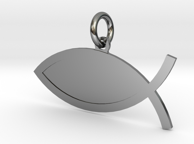 The Fish Customizable Small in Fine Detail Polished Silver