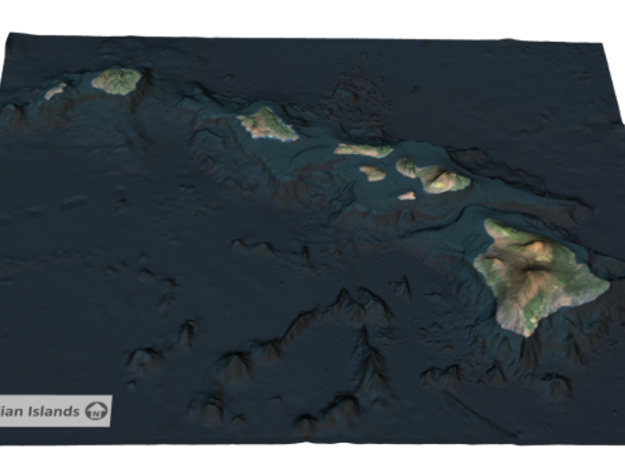 Hawaiian Islands Map in Full Color Sandstone