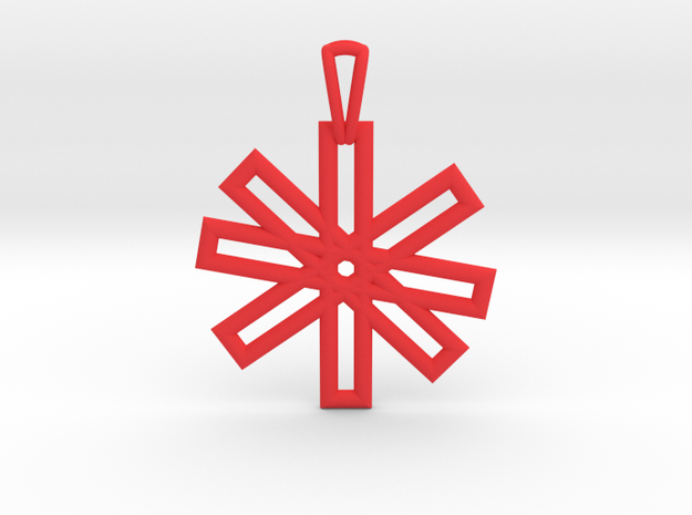 Sacred Geometry Pendant (Small) in Red Processed Versatile Plastic