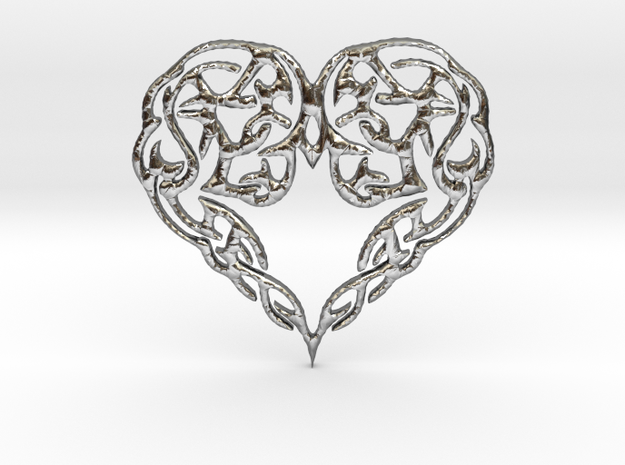 Heart Knot Amulet in Polished Silver