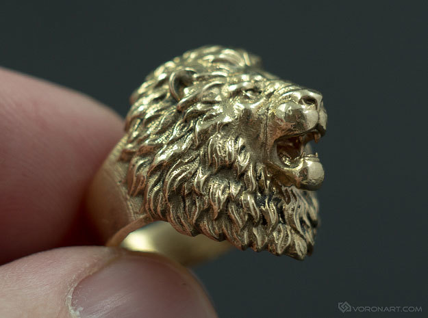 Aggressive Lion Ring in Natural Brass: 11.5 / 65.25