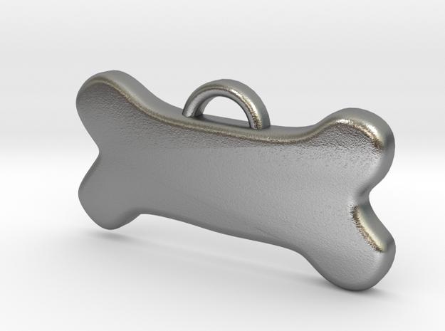 Bone Tag For Dog Customizable in Raw Silver
