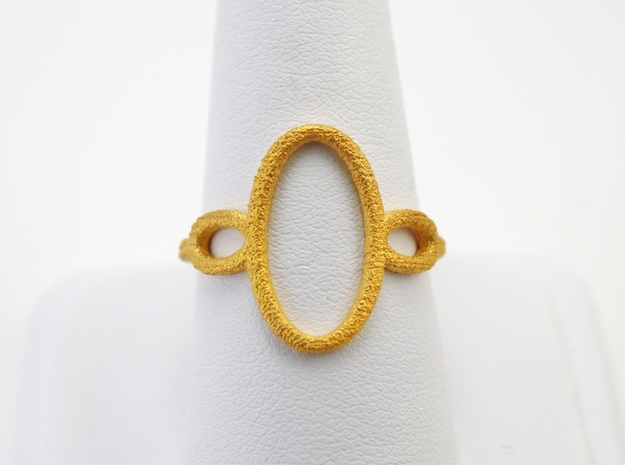 Oval Looped Ring - US Size 09 in Polished Gold Steel
