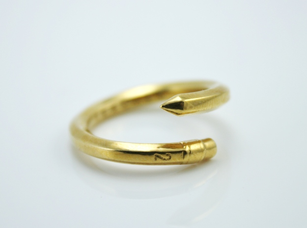 Teacher Pencil Ring - US Size 08 in Polished Brass: 8 / 56.75