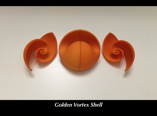 Golden Vortex Shell CW in 18k Gold Plated Brass