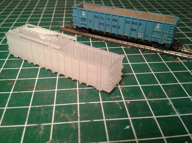 Z-scale 'steel' coal gondola   in Frosted Extreme Detail