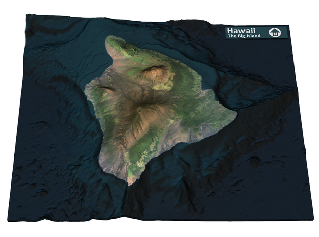 The Big Island Map, Hawaii in Matte Full Color Sandstone