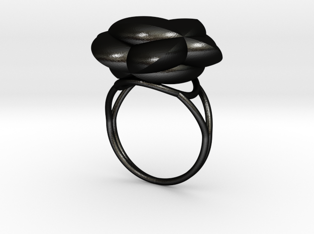 FLOWER OF LIFE Ring Nº3 in Matte Black Steel