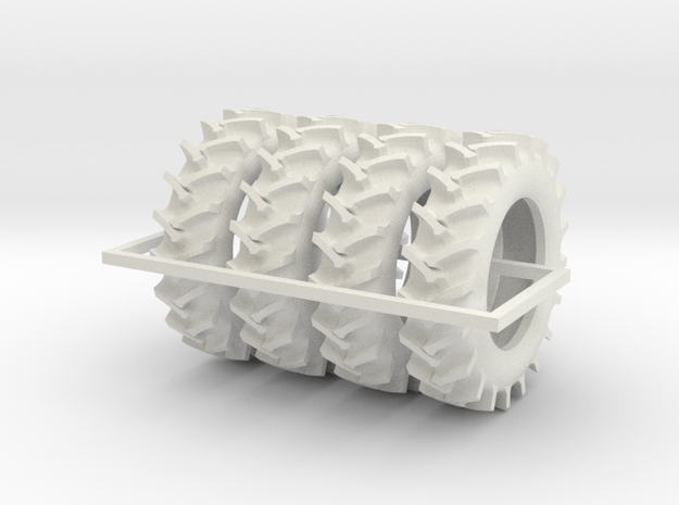 1/64 520/85R46 R2 X 4 tractor tires in White Natural Versatile Plastic