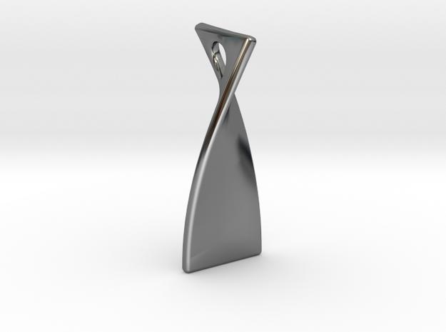 Twisty 90 2cm tall in Fine Detail Polished Silver