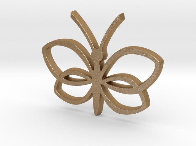 Butterfly Pendant in Matte Gold Steel