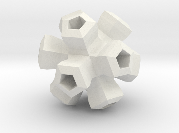 Cauliflower Polyhedron Pendant in White Strong & Flexible