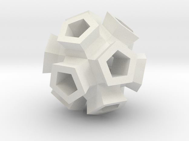 Broccoli Polyhedron Pendant in White Natural Versatile Plastic