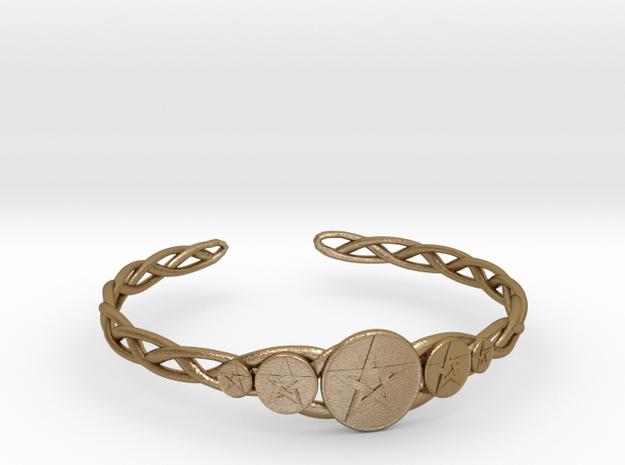 "Celtic Knot Pentacle Cuff Bracelet (3.0"" diameter) in Polished Gold Steel"