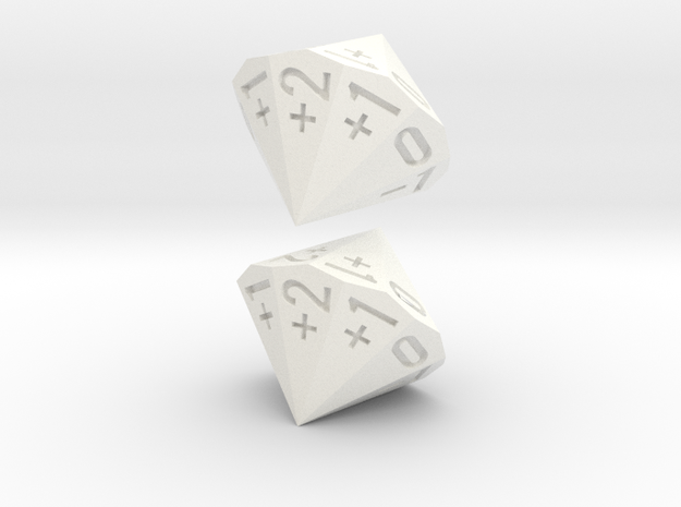 4-in-2 Fudge / Fate Dice (2d18 numbered as 4dF) in White Processed Versatile Plastic