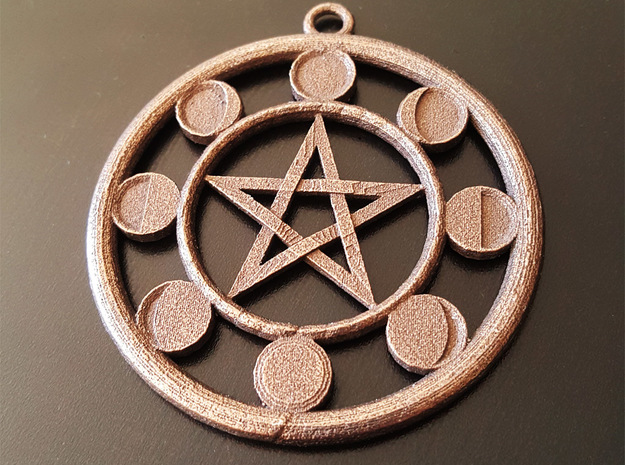 Lunar Phases Pentacle Pendant in Polished Bronze