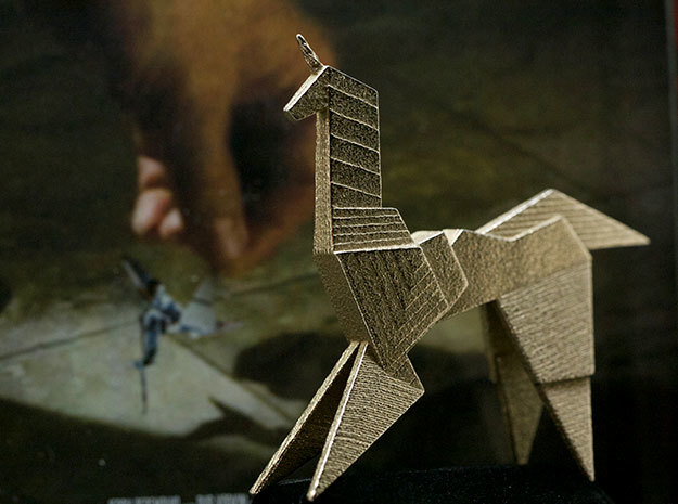 Gaff's Unicorn   Blade Runner Origami in Polished Bronzed Silver Steel
