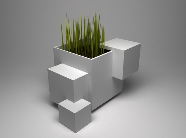 Odd Cubic planter in White Natural Versatile Plastic