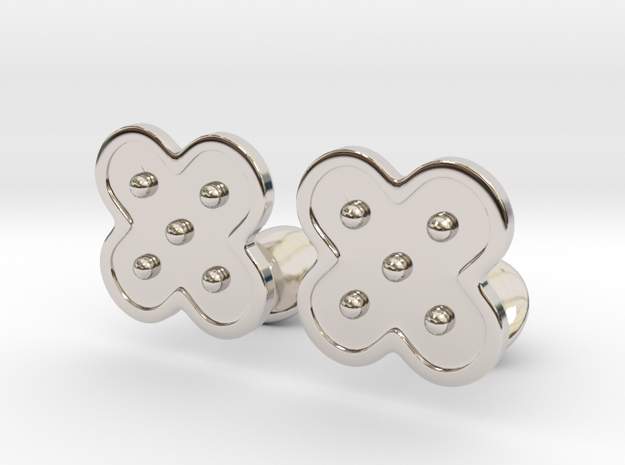 Flower Cufflinks in Rhodium Plated Brass