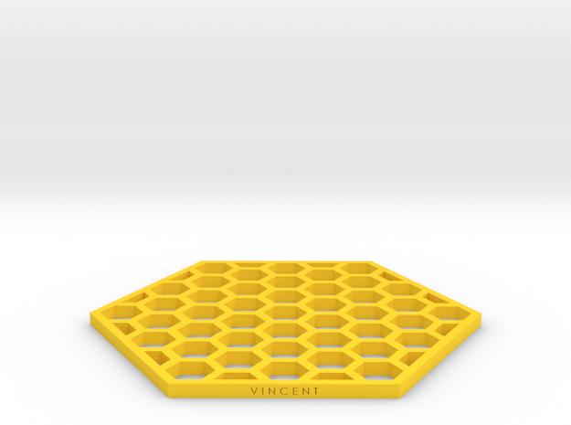 Honeycomb Coaster in Yellow Processed Versatile Plastic