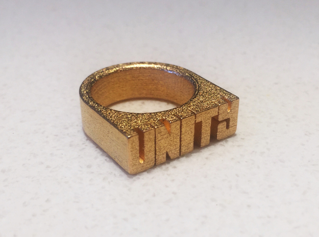 18.9mm Replica Rick James 'Unity' Ring in Polished Gold Steel