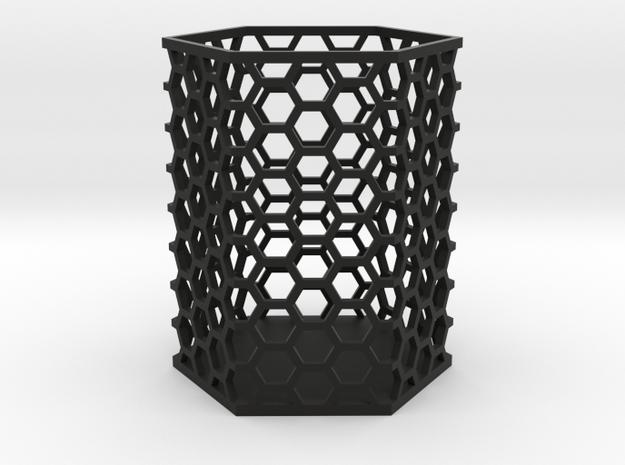 Large Honeycomb Pen Holder in Black Natural Versatile Plastic