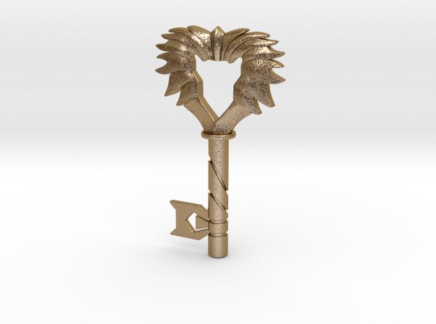 Black Lion Chest Key in Polished Gold Steel