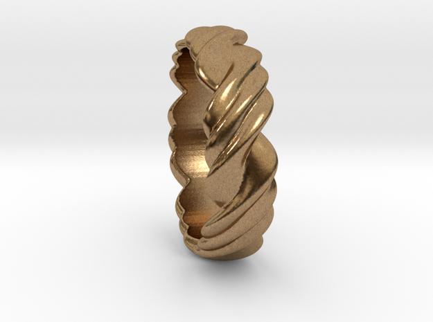 Ring 3 twist Size 17 mm  (us= 7) in Raw Brass