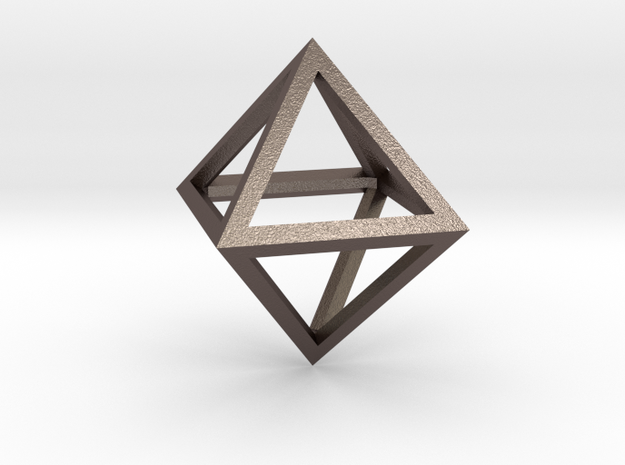 Faceted Minimal Octahedron Frame Pendant in Stainless Steel