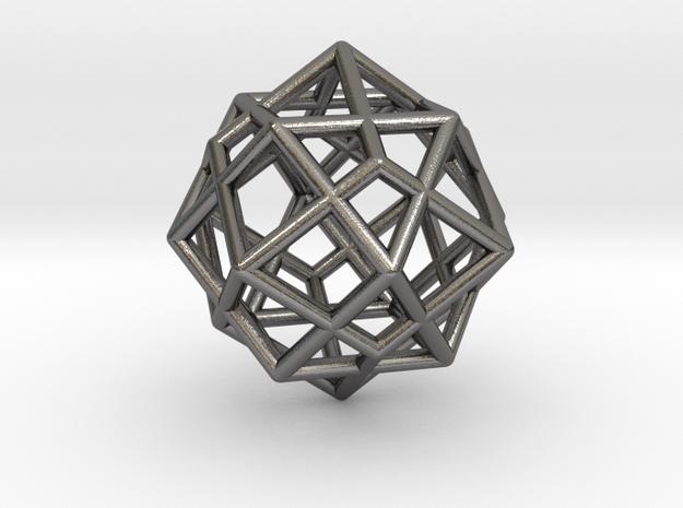 0492 Cuboctahedron + Dual in Polished Nickel Steel
