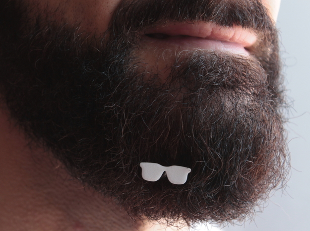Sunglasses for beard - front wearing in White Natural Versatile Plastic
