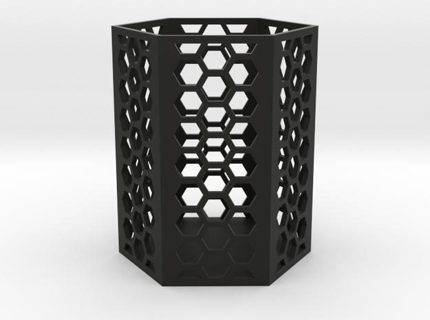Large Honeycomb Pen Holder (Ver.2) in Black Natural Versatile Plastic